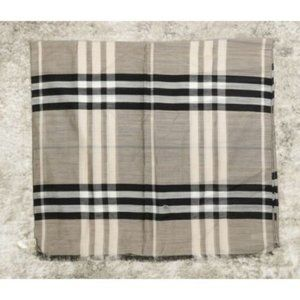 Burberry Beat Check Wool Silk Blend Raw Edge Scarf